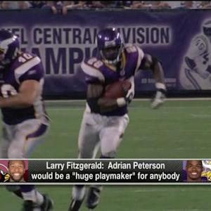 Arizona Cardinals wide receiver Larry Fitzgerald touts the talent of Minnesota Vikings running back Adrian Peterson