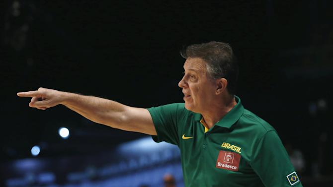 Brazil's head coach Ruben Magnano gives instructions to his players during their 2015 FIBA Americas Championship basketball game against Dominican Republic in Mexico City