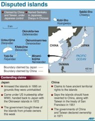 Graphic on the disputed Senkaku/Diaoyu islands. Thousands of anti-Japanese demonstrators mounted protests in cities across China on Sunday over disputed islands in the East China Sea, a day after an attempt to storm Tokyo&#39;s embassy in the capital