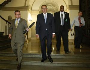 U.S. House Speaker Boehner departs for a meeting with Obama in Washington