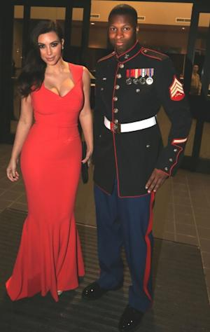 Kim Kardashian and Sgt. Martin Gardner are seen at the HQ Battery 10th Marine Birthday Ball in Greenville, North Carolina, November 15, 2012  -- Splash News