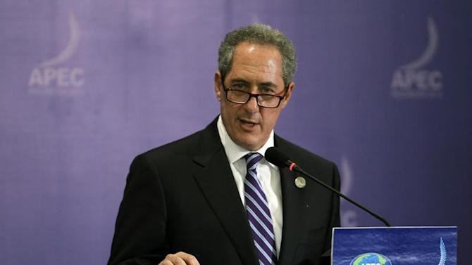 U.S. Trade Representative Michael Froman speaks during a news conference during the APEC ministerial meeting in Nusa Dua, Bali island