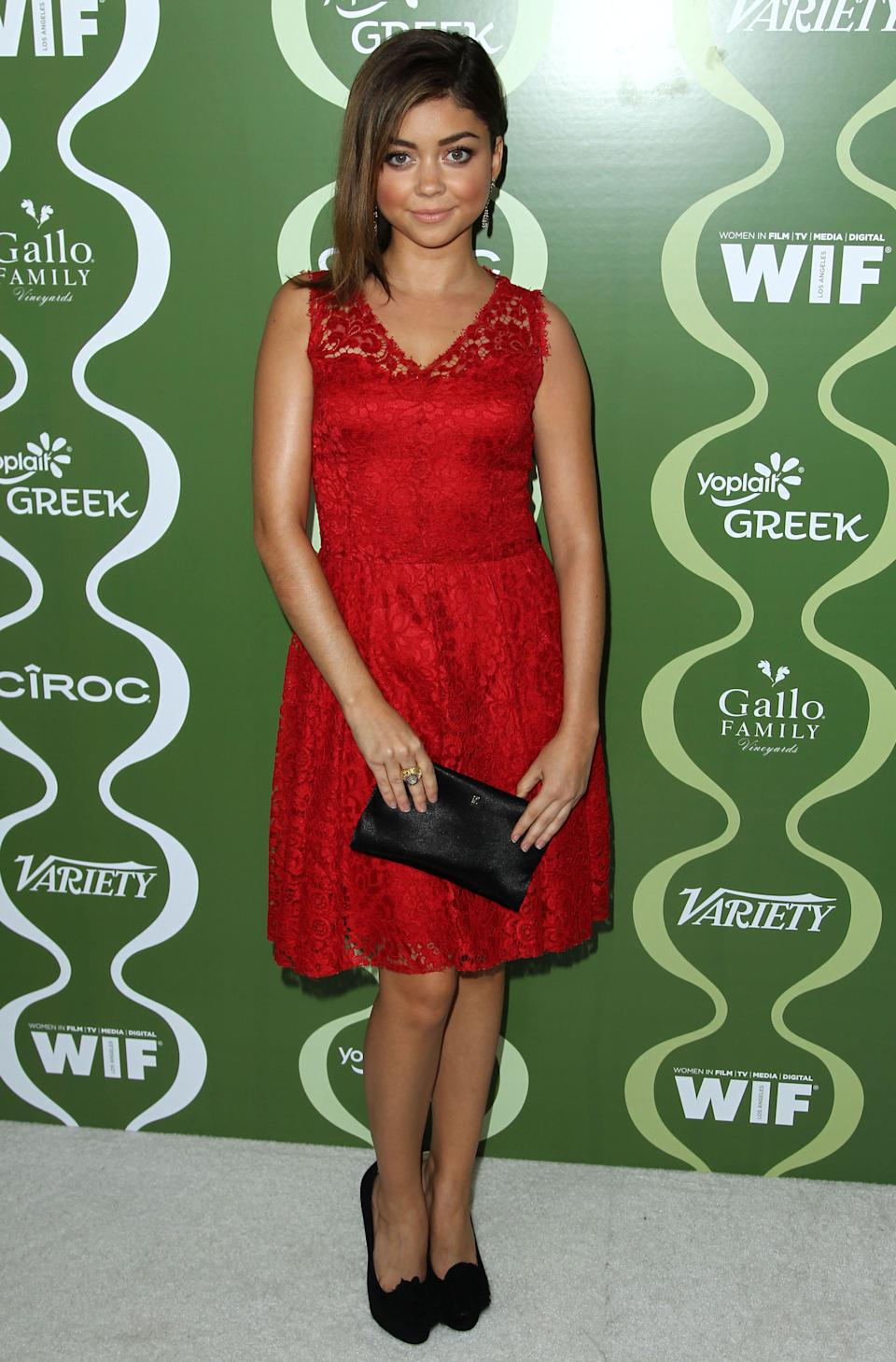 Sarah Hyland arrives at the 2013 Women In Film pre-emmy event at Scarpetta at the Montage Hotel on Friday, Sept. 20, 2013 in Beverly Hills, Calif. (Photo by Matt Sayles/Invision/AP)