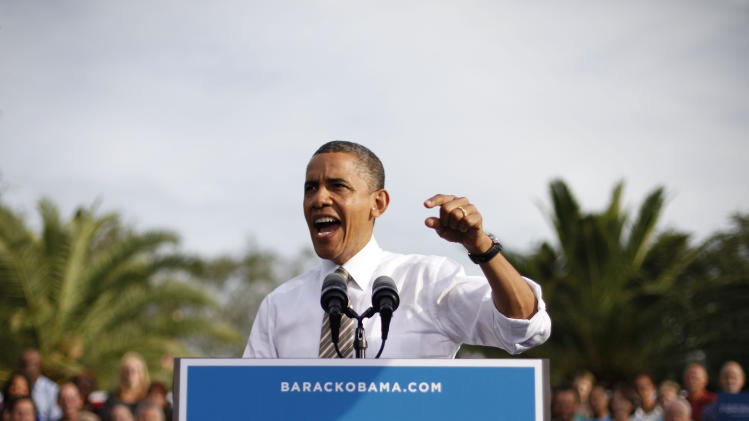 President Barack Obama gestures while speaking during a campaign event at Ybor City Museum State Park, Thursday, Oct. 25, 2012, in Tampa, Fla. The president is on the second day of his 48 hour, 8 State campaign blitz. (AP Photo/Pablo Martinez Monsivais)