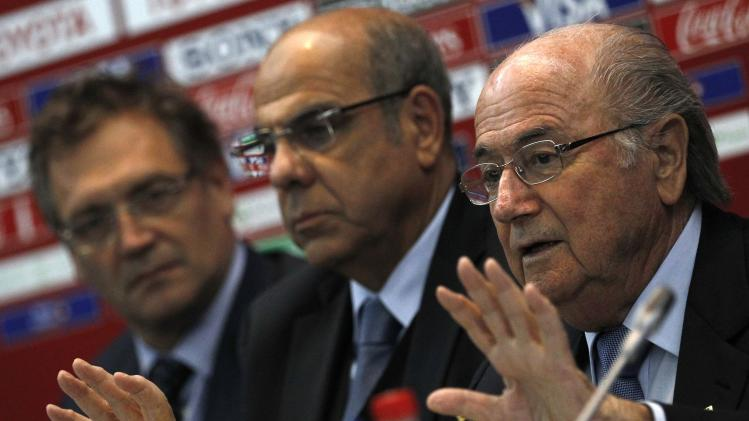 FIFA President Sepp Blatter speaks during a news conference at the Club World Cup soccer tournament in Marrakech
