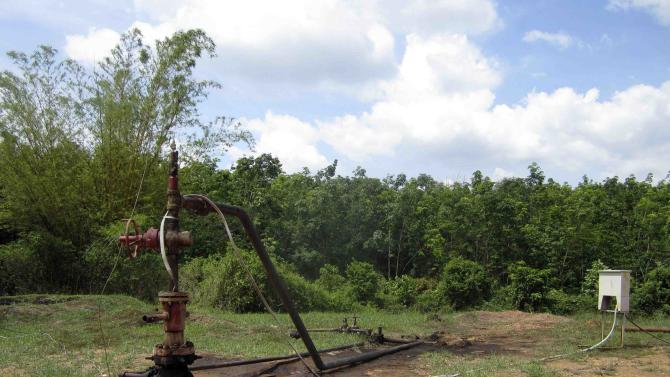 A well head is seen at Limau field in Prabumulih