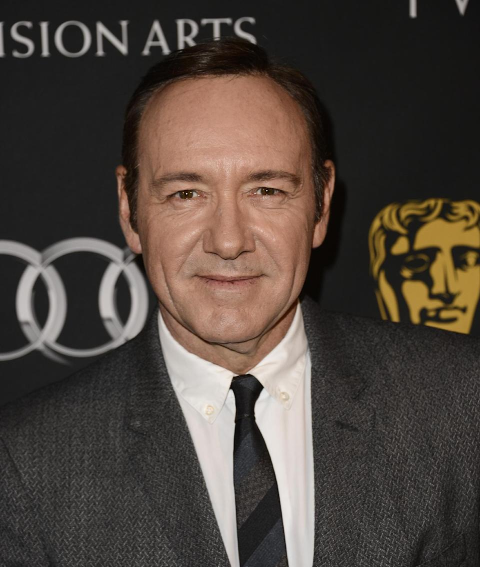 Actor Kevin Spacey arrives at the BAFTA's Los Angeles TV Tea party at the SLS Hotel on Saturday, Sept. 21, 2013 in Los Angeles. (Photo by Dan Steinberg/Invision/AP)