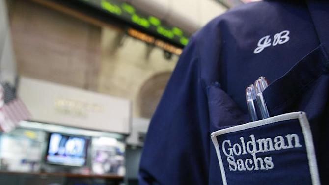A trader works at the Goldman Sachs stall on the floor of the New York Stock Exchange