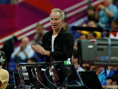 Former pro tennis player McEnroe attends the men's quarterfinal basketball match betwen the U.S. and Australia at the North Greenwich Arena in London during the London 2012 Olympic Games