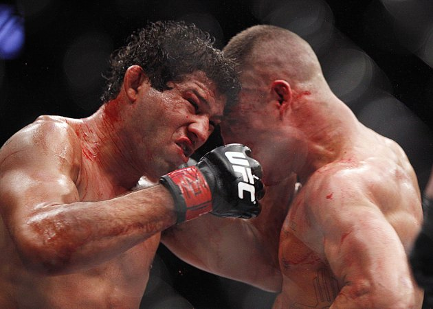 Gilbert Melendez and Diego Sanchez trade blows during their epic bout. (USA Today)