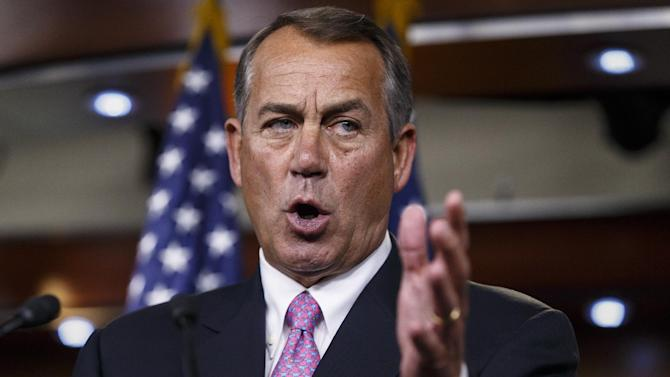 House Speaker John Boehner of Ohio takes questions about his legislative agenda during a news conference on Capitol Hill in Washington, Wednesday, March 26, 2014. Boehner touched on the Ukraine crisis, relations with Russia, the NSA surveillance program, jobs and other issues. (AP Photo/J. Scott Applewhite)