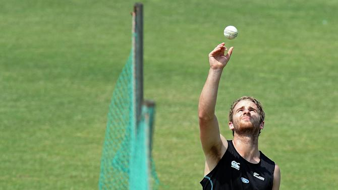 New Zealand cricketer Kane Williamson bowls during a training session at The Zahur Ahmed Chowdhury Stadium in Chittagong on March 23, 2014