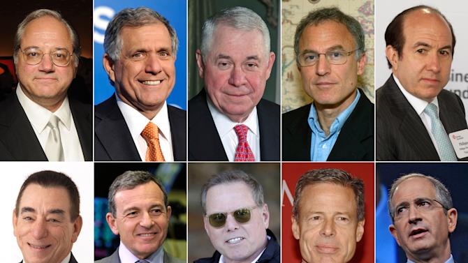This photo combination shows the 10 highest-paid CEOs of 2013, as calculated by The Associated Press and Equilar, an executive pay research firm. Top row, from left: Anthony Petrello, Nabors Industries, $68.2 million; Leslie Moonves, CBS, $65.6 million; Richard Adkerson, Freeport-McMoRan Copper & Gold, $55.3 million; Stephen Kaufer, TripAdvisor, $39 million; and Philippe Dauman, Viacom, $37.2 million. Bottom row, from left: Leonard Schleifer, Regeneron Pharmaceuticals, $36.3 million; Robert Iger, Walt Disney, $34.3 million; David Zaslav, Discovery Communications, $33.3 million; Jeffrey Bewkes, Time Warner, $32.5 million; and Brian Roberts, Comcast, $31.4 million. (AP Photo)