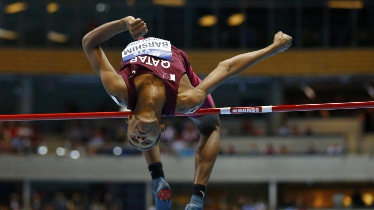 Qatar's Barshim competes in men's high jump final at world indoor athletics championships in Sopot