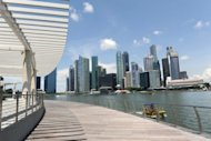 "This general view shows the financial business district in Singapore, pictured in April. Singapore warned on Thursday that a ""disorderly sovereign debt default"" in the eurozone could not be ruled out as it stuck to its full-year growth forecast of 1.0 to 3.0 percent"