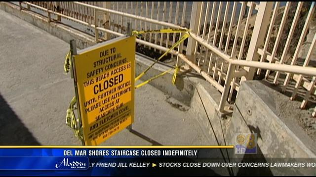 Del Mar Shores staircase closed indefinitely