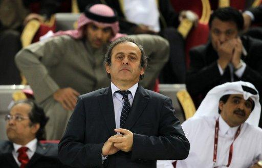 Michel Platini attends the Asian Cup final between Australia and Japan at Khalifa Stadium in Doha on January 29, 2011