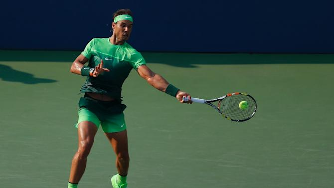 Rafael Nadal duirng his US Open match against Diego Schwartzman at the USTA Billie Jean King National Tennis Center September 2, 2015