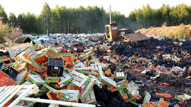 A bulldozer crushes boxes of peaches outside Smolensk in August 2015 after Russian officials began a controversial drive to destroy Western food smuggled into the crisis-hit country despite a public outcry