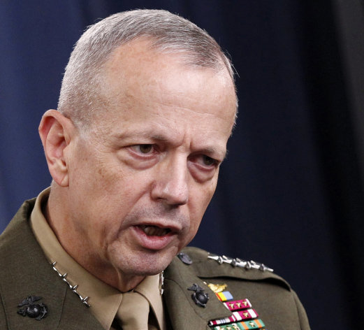 FILE - This May 23, 2012 file photo shows Marine Gen. John R. Allen speaking at the Pentagon. The White House says it will go ahead with Allen&#39;s nomination to become NATO commander. The nomination had been put on hold while the Pentagon investigated Allen&#39;s email exchanges with a Florida woman linked to a sex scandal that led David Petraeus to resign as CIA director. (AP Photo/Haraz N. Ghanbari, File)