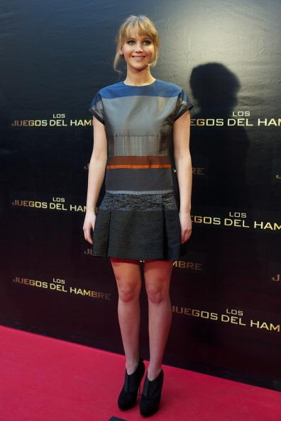 Actress Jennifer Lawrence of 'The Hunger Games' (Los Juegos del Hambre) attends an event with fans at Capitol cinema on March 26, 2012 in Madrid, Spain. (Photo by Carlos Alvarez/Getty Images)
