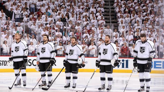 (L-R) Jeff Carter #77, Drew Doughty #8, Mike Richards #10, Rob Scuderi #7 And Dustin Penner #25 Of The Los Angeles Getty Images