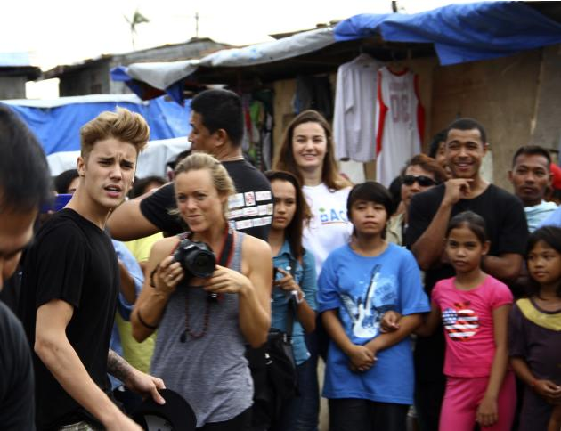 Pop singer Justin Bieber visits an evacuation centre at San Jose town in Tacloban