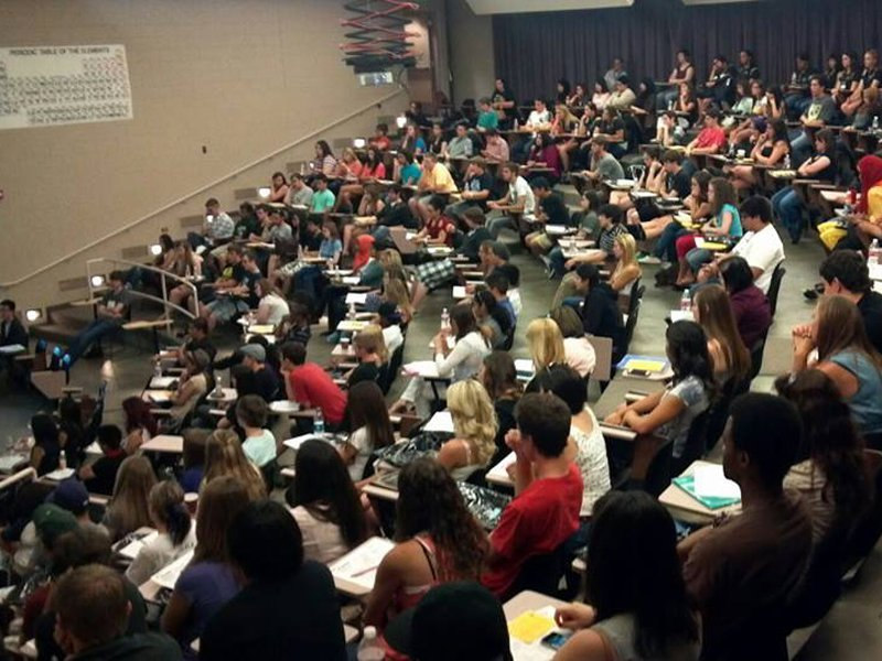college students in a classroom at University of Colorado Denver