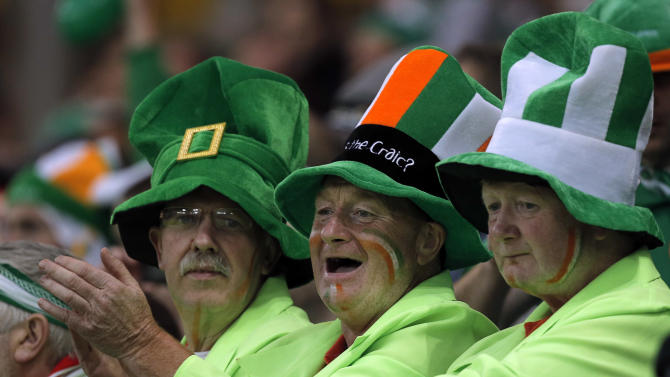Irish fans wait for the start of the Euro 2012 soccer championship Group C match between Spain and Ireland in Gdansk, Poland, Thursday, June 14, 2012. (AP Photo/Gero Breloer)