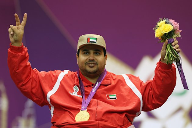 Abdulla Sultan Alaryani of United Arab Emirates celebrates winning a Gold Medal after competing in the mixed R6-50m Rifle Prone- SH1 final round on day 6 of the London 2012 Paralympic Games at The Royal Artillery Barracks on September 4, 2012 in London, England.  (Photo by Dan Kitwood/Getty Images)