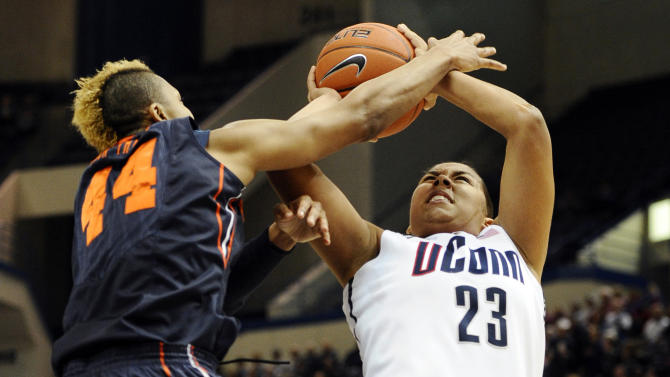 Connecticut's Kaleena Mosqueda-Lewis, right, is fouled by Syracuse's Carmen Tyson-Thomas, left, in the first half of an NCAA college basketball game in the semifinals of the Big East Conference women's tournament in Hartford, Conn., Monday, March 11, 2013. (AP Photo/Jessica Hill)