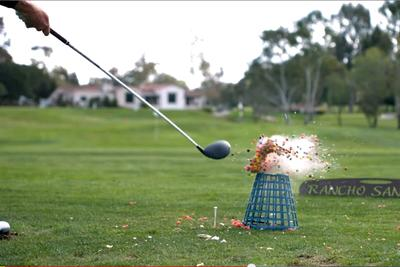 This golf trick-shot video is out to destroy Captain America, Skittles, and fruit