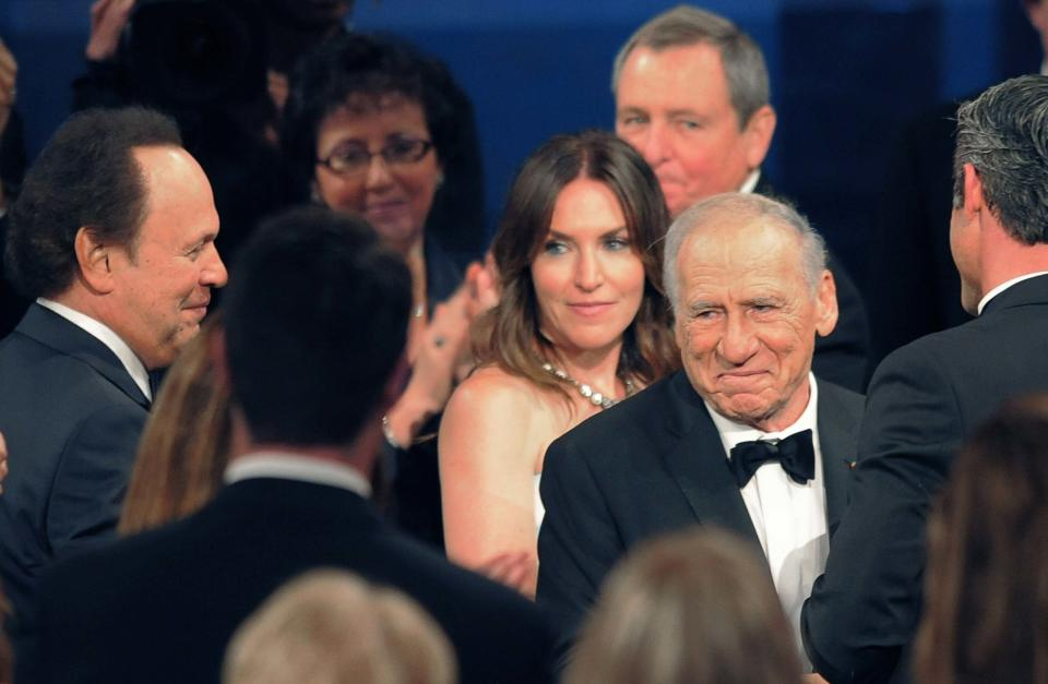 Honoree Mel Brooks, right, makes his way through the crowd during the American Film Institute's 41st Lifetime Achievement Award Gala at the Dolby Theatre on Thursday, June 6, 2013 in Los Angeles. (Photo by Chris Pizello/Invision/AP)
