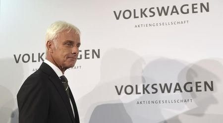 New Volkswagen CEO Mueller arrives for news conference in Wolfsburg