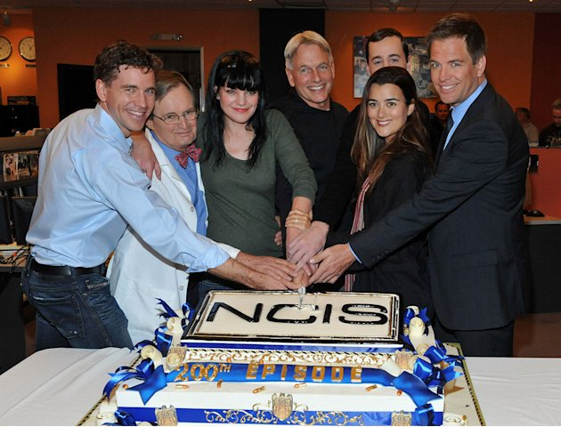 Brian Dietzen, David McCallum, Pauley Perrette, Mark Harmon, Sean Murray, Cote de Pablo, and Michael Weatherly attend CBS' &quot;NCIS&quot; celebration of their 200th episode on January 3, 2012 in Valencia, Cal