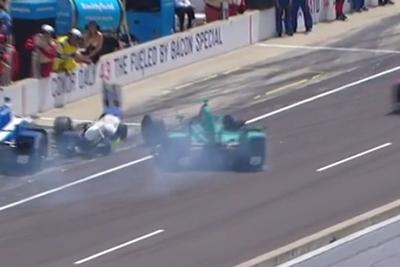 Two crew members injured after Indy 500 crash