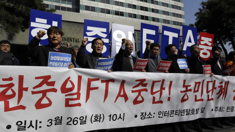 SKorea, China, Japan begin free trade talks