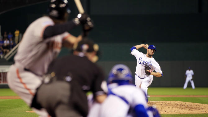 Kansas City Royals pitcher James Shields throws during the first inning of Game 1 of baseball's World Series against the San Francisco Giants Tuesday, Oct. 21, 2014, in Kansas City, Mo. (AP Photo/Jamie Squire, Pool)