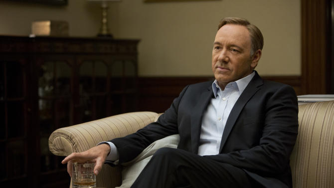 "This image released by Netflix shows Kevin Spacey in a scene from the Netflix original series, ""House of Cards,"" an adaptation of a British classic. The 13-episode series was made available on Netflix on Feb. 1. (AP Photo/Netflix, Melinda Sue Gordon)"