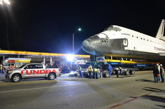 Shuttle Endeavour Towed by Toyota Truck Over L.A. Freeway