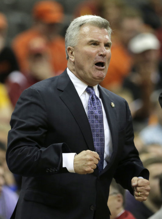 Kansas State coach Bruce Weber reacts to a call during the second half an NCAA college basketball game against Oklahoma State in the Big 12 men's tournament Friday, March 15, 2013, in Kansas City, Mo.