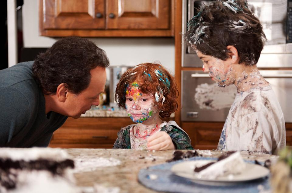 "This undated publicity photo released by Twentieth Century Fox and Walden Media shows Billy Crystal, left, as Artie who realizes his grandsons, Kyle Harrison Breitkopf, center, as Barker and Joshua Rush as Turner have have too much sugar in a scene from the film, ""Parental Guidance."" (AP Photo/Twentieth Century Fox/Walden Media, Phil Caruso)"