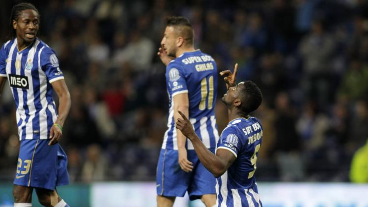 Porto's Jackson celebrates his goal against Arouca during their Portuguese Premier League soccer match in Porto