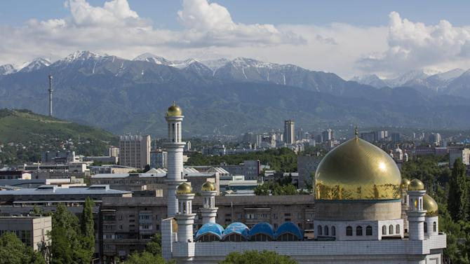 FOR STORY 2022 BID - This photo taken on Friday, May  29, 2015, shows a central mosque in Almaty, Kazakhstan.  The ex-Soviet nation of Kazakhstan in Central Asia will be the first majority-Muslim country to host an Olympics if Almaty defeats its rival, Beijing, in voting July 31 to select the host venue of the 2022 winter games. (AP Photo/Pavel Mikheyev)