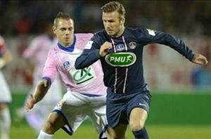 Beckham shown straight red card for Paris Saint-Germain