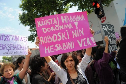 &lt;p&gt;A Turkish feminist (right) holds a placard reading &quot;Don&#39;t touch our abortion rights&quot; during a protest outside Prime Minister Recep Tayyip Erdogan&#39;s office in Istanbul on May 27. Some 300 women are to protest to the Turkish government Tuesday after Erdogan sparked fury among women&#39;s rights advocates by likening abortion to murder.&lt;/p&gt;