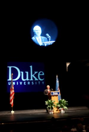 Secretary of Defense Robert Gates is seen on a television camera view finder during a speech at Duke University in Durham, N.C., Wednesday, Sept. 29, 2010. (AP Photo/Jim R. Bounds)