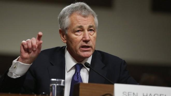 Former Sen. Hagel testifies before the Senate Armed Services Committee on Jan. 31 during his confirmation hearing.