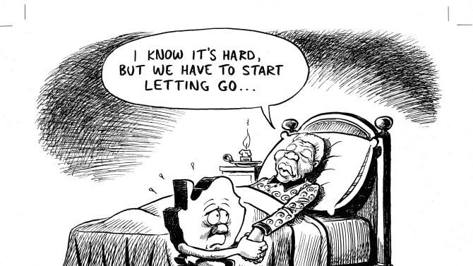 """This photo released by Jonathan Shapiro, shows a cartoon depicting former South African President Nelson Mandela, dated Monday, March 4, 2013. Shapiro, who signs """"Zapiro"""" on his cartoons, said his newspaper editors grew edgy earlier this year when he submitted an image of an ailing Mandela in bed, holding hands with a forlorn nation - symbolized by a map of South Africa with a frowning face. It captured the angst of South Africans who revere the former president and peacemaker, and worry about a future without him, even though the 95-year-old is long retired and has been critically ill for months. (AP Photo)"""