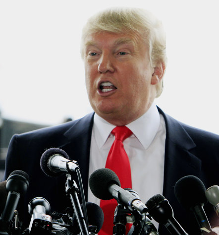 FILE - In this April 27, 2011 file photo, businessman Donald Trump talks with reporters at the Pease International Tradeport in Portsmouth, N.H. Trump got the media buzzing when he announced his intention to run for president and took credit for forcing President Barack Obama to release his detailed birth certificate in response to those who question whether he was born in the United States (AP Photo/Jim Cole, file)